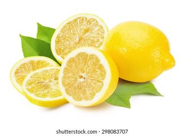 tasty lemons isolated on the white background