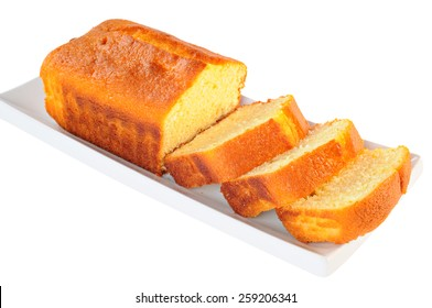 Tasty loaf cake with lemon taste, isolated on white background