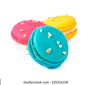 Tasty macaron isolate on with background
