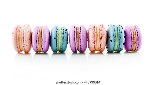 Tasty macaroons, isolated on white