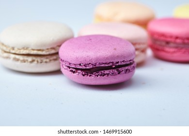 tasty macaroons on the white
