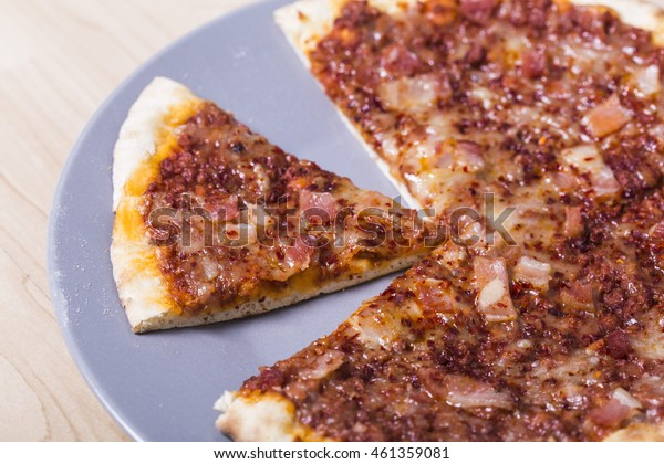 Tasty meat pizza bread close up