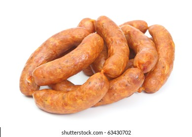 tasty meat sausages on white