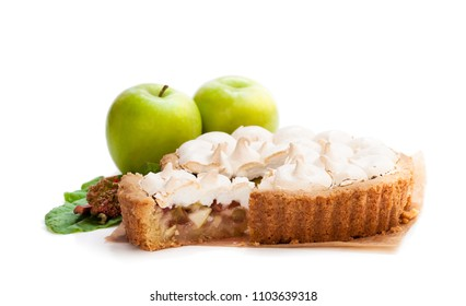 Tasty  meringue pie with rhubarb and apple isolated on white