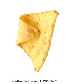 Tasty Mexican nacho chip on white background