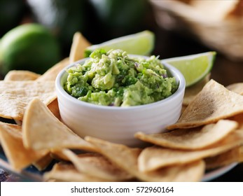 tasty mexican tortilla chips and guacamole