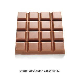 Tasty milk chocolate bar on white background