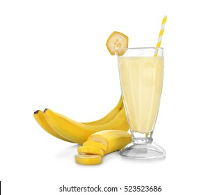 Tasty milk shake with banana isolated on white