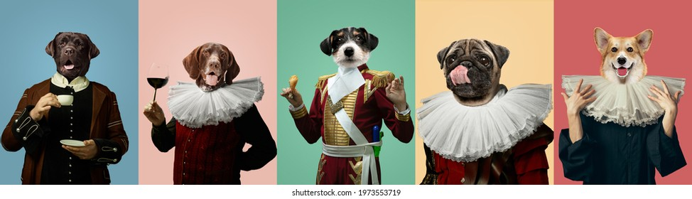 Tasty. Models like medieval royalty persons in vintage clothing headed by dog's heads on multicolored background. Concept of comparison of eras, artwork, renaissance, baroque style. Creative collage.