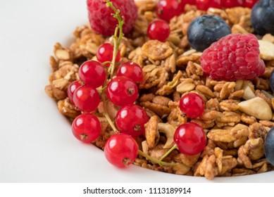 Tasty Natural Healthy Granola Fresh Raspberries Stock Photo