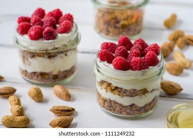 Tasty Natural Healthy Granola Yogurt Fresh Stock Photo (Edit