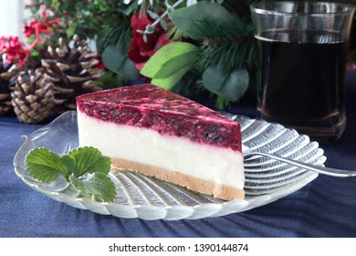 Tasty no bake cheesecake with forest fruits