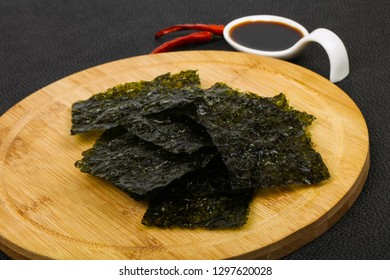 Tasty Nori chips with soya sauce