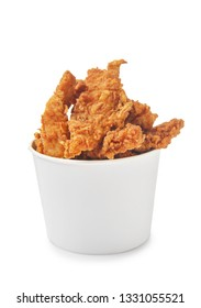 Tasty nuggets in paper bowl on white background