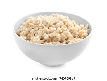 Tasty oatmeal in bowl for breakfast on white background