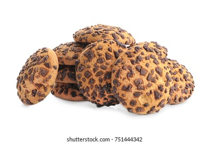 Tasty oatmeal cookies with chocolate on white background