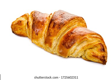 Tasty oil croissant isolated on white background