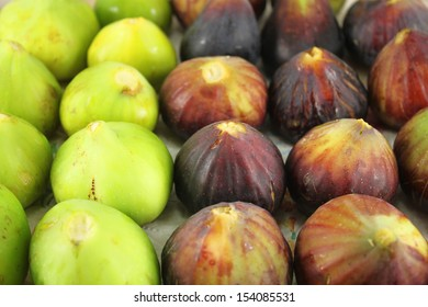Tasty organic figs at local market. Ripe Fig Fruits