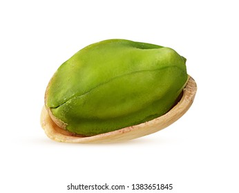 Tasty organic pistachio nuts isolated on white background. Clipping Path. Full depth of field.