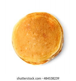 Tasty pancakes isolated on white, top view