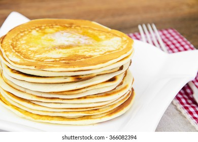 Tasty Pancakes Stack with Butter Studio Photo