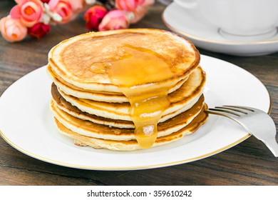 Tasty Pancakes Stack with Honey Studio Photo