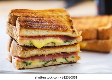 tasty panini ham cheese sandwich with melt cheese stuff for meal