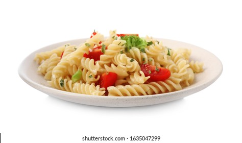 Tasty pasta with broccoli and cherry tomatoes isolated on white