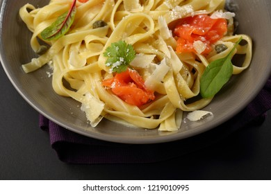 Tasty pasta with salted salmon