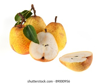 Tasty pears isolated on the white background