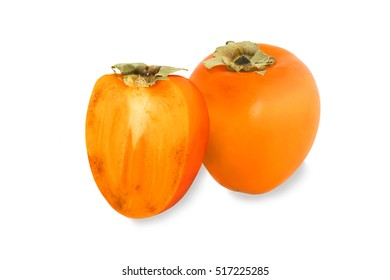 Tasty persimmon with half  isolated on white background
