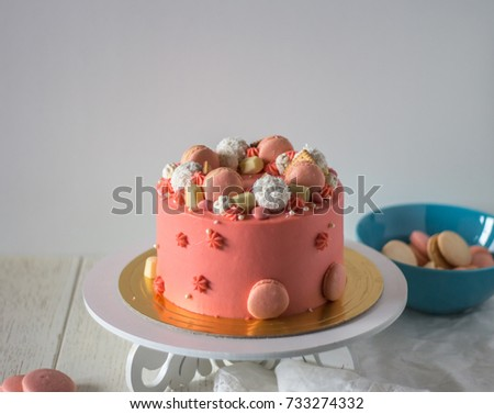 Tasty Pink Cake With Macarons
