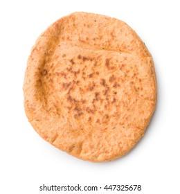 Tasty pita bread isolated on white background.