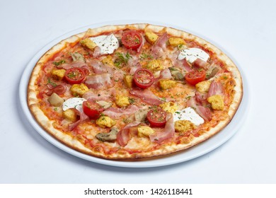 tasty pizza with bacon and cherry tomatoes