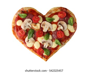 Tasty pizza in heart shape, isolated on white