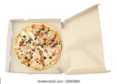 Tasty pizza in a takeaway package