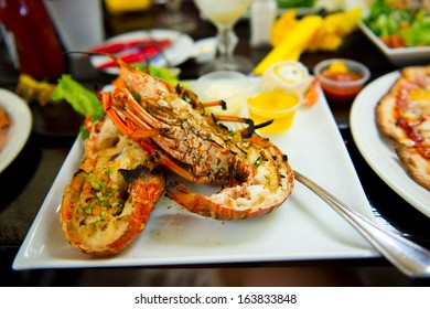 Tasty plate of seafood meal on it with fresh cooked lobster flavored with garden green