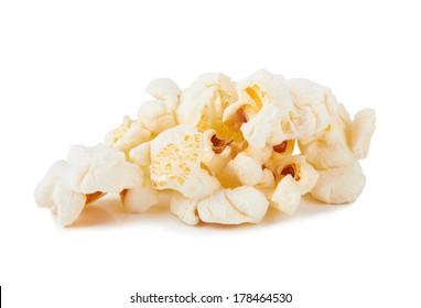 Tasty popcorn isolated on the white background