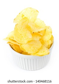 Tasty potato chips bowl on white background