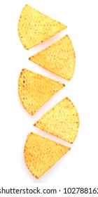 tasty potato chips isolated on white