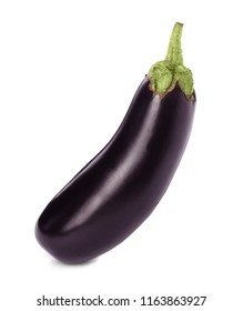 Tasty raw ripe eggplant on white background