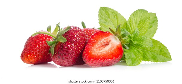 tasty red strawberries with leaves of mint isolated on white