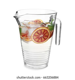 Tasty refreshing lemonade with red orange in glass jug on white background