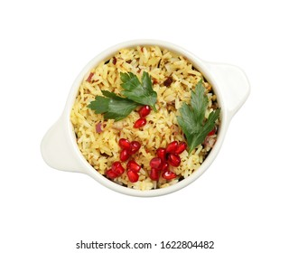 Tasty rice pilaf with pomegranate grains and parsley isolated on white, top view
