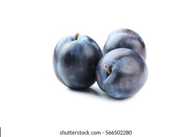 Tasty and ripe plums isolated on a white