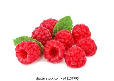 Tasty ripe raspberries on a white background.