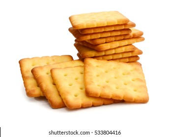 tasty salty crackers or cookies isolated on white background available with clipping path