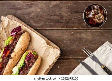 Tasty sandwich with roast beef