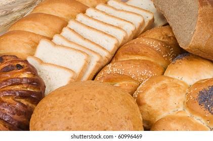 tasty set of bun and bread