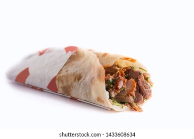 Tasty shawarma sandwich isolated on white background
